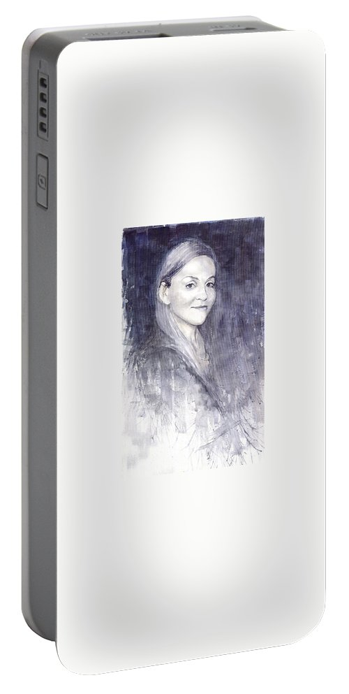 Watercolour On Paper Portable Battery Charger featuring the painting Olga by Yuriy Shevchuk