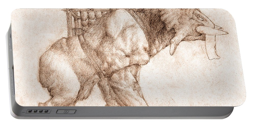 Lord Of The Rings Portable Battery Charger featuring the drawing Oliphaunt by Curtiss Shaffer