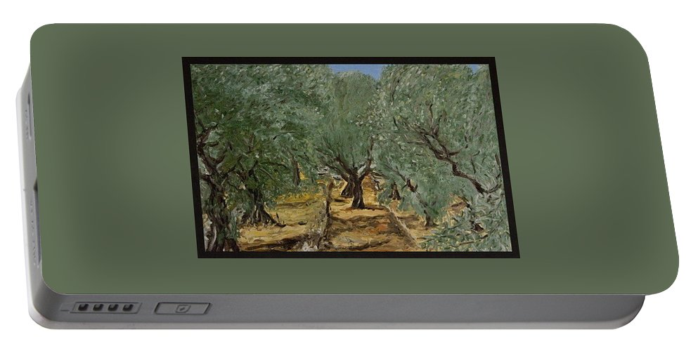 Landscape Portable Battery Charger featuring the painting Olive by Pablo de Choros