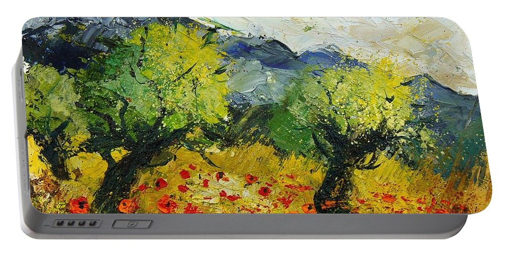 Flowers Portable Battery Charger featuring the painting Olive Trees And Poppies by Pol Ledent