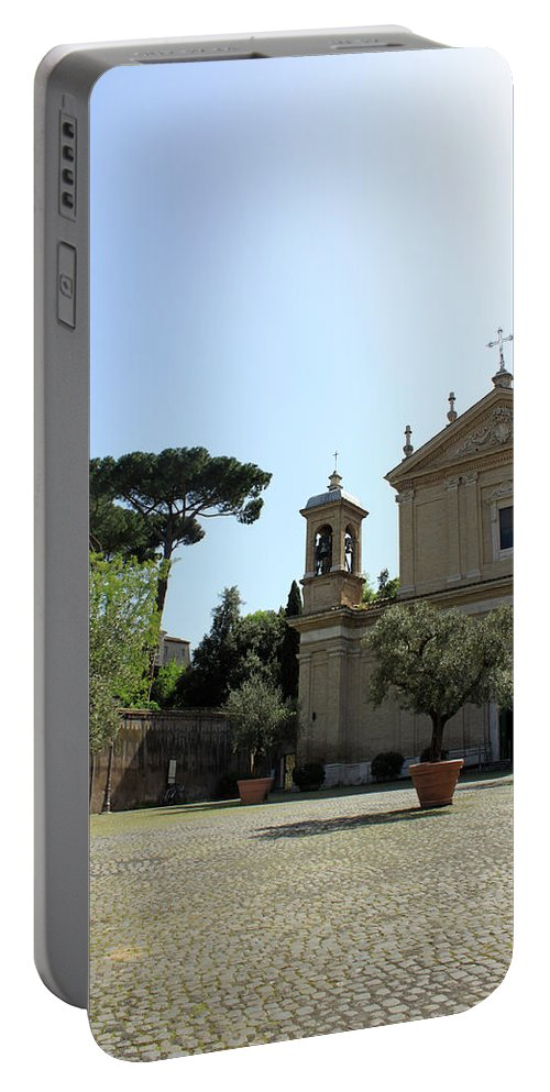 Church Portable Battery Charger featuring the photograph Olive Wood Trees by Munir Alawi
