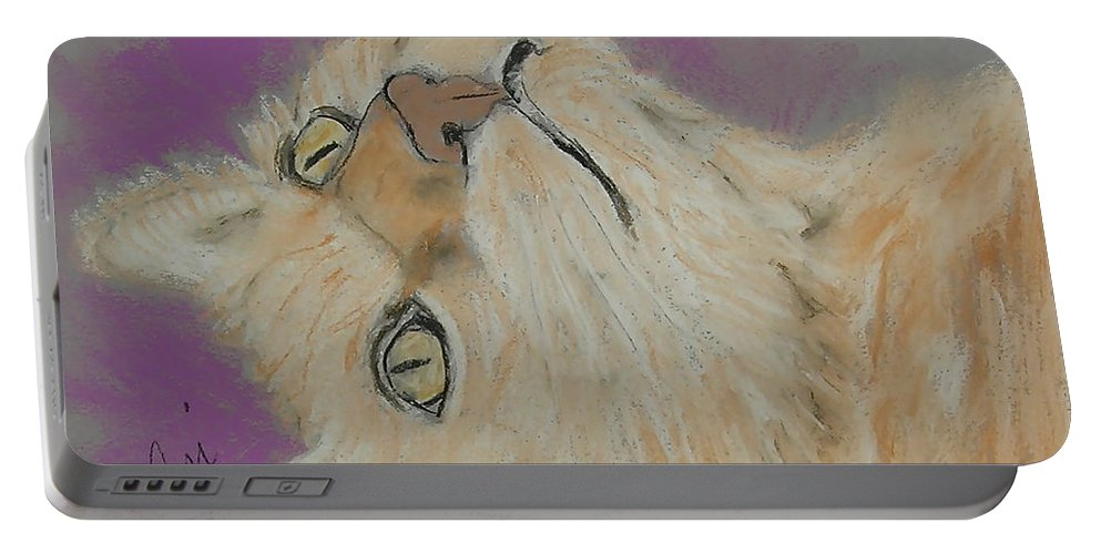 Cat Portable Battery Charger featuring the drawing Oliver by Cori Solomon