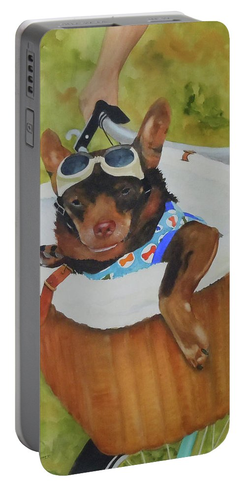 Chihuahua Portable Battery Charger featuring the painting Oliver Rides The Greenway by Jean Blackmer