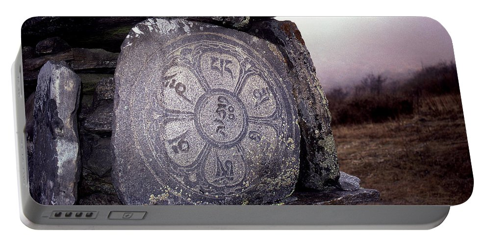Langtang Portable Battery Charger featuring the photograph Om Mani Padme Hum by Patrick Klauss