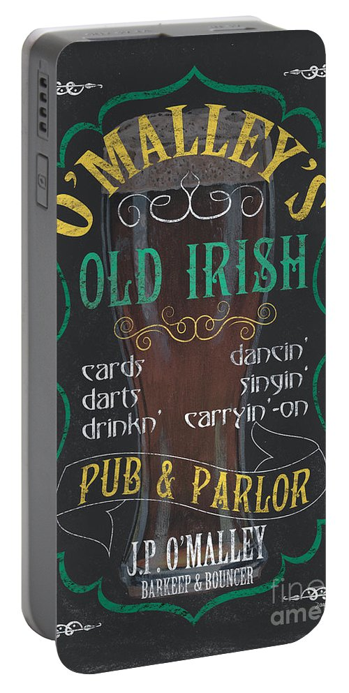Beer Portable Battery Charger featuring the painting O'malley's Old Irish Pub by Debbie DeWitt
