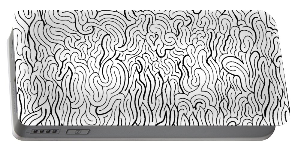 Mazes Portable Battery Charger featuring the drawing Ominous by Steven Natanson