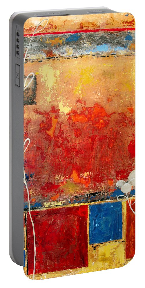 Abstract Portable Battery Charger featuring the painting On A Clear Day by Ruth Palmer