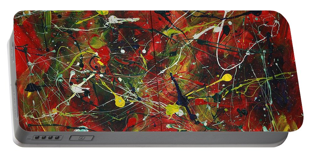 Splatter Portable Battery Charger featuring the painting On A High Note by Jacqueline Athmann