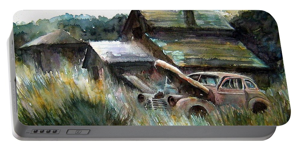 Car Barn Trees Portable Battery Charger featuring the painting On Borrowed Time by Ron Morrison