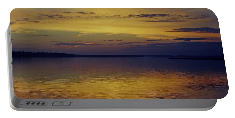 Clouds Portable Battery Charger featuring the photograph On Golden Pond by Phill Doherty