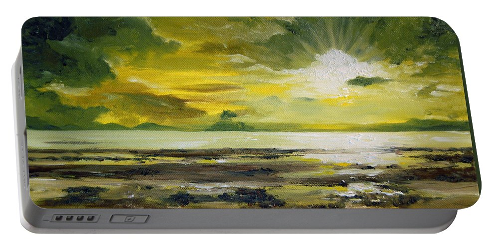 Sunset Portable Battery Charger featuring the painting On Golden Shores by Mary Tuomi
