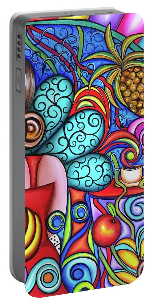 Cuba Portable Battery Charger featuring the painting On My Mind by Annie Maxwell