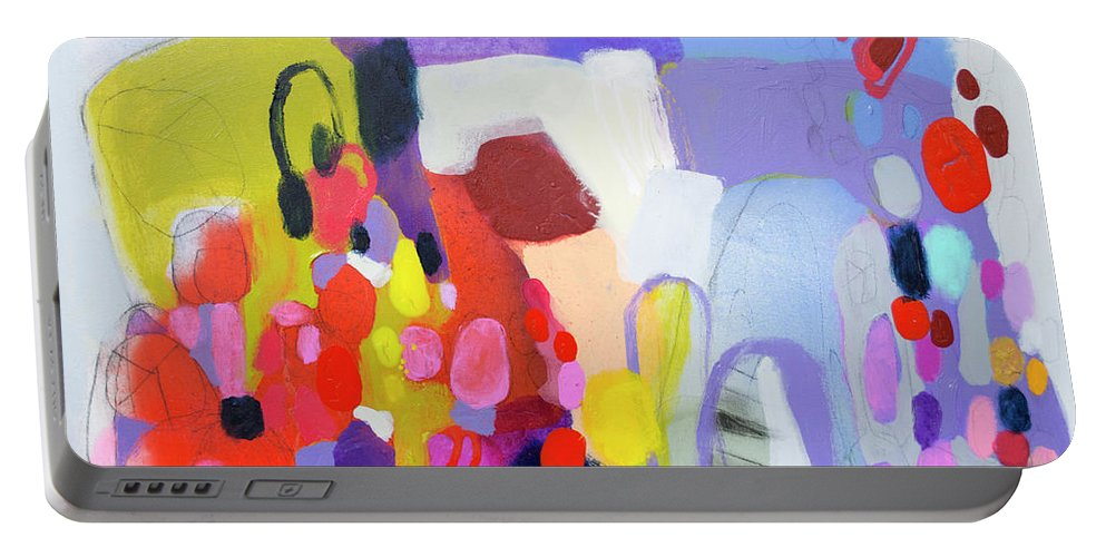Abstract Portable Battery Charger featuring the painting On My Mind by Claire Desjardins