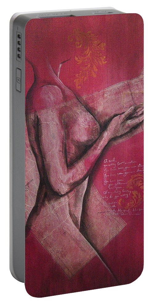 Figure Portable Battery Charger featuring the painting On My Sleeve by Rowena Finn