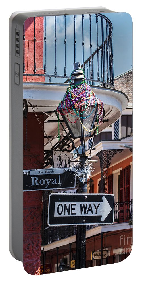 New Orleans Portable Battery Charger featuring the photograph On The Corner Of Royal Street by Frances Ann Hattier