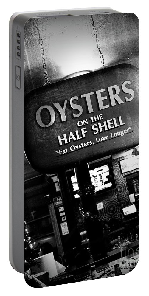 Black & White Portable Battery Charger featuring the photograph On The Half Shell - Bw by Scott Pellegrin