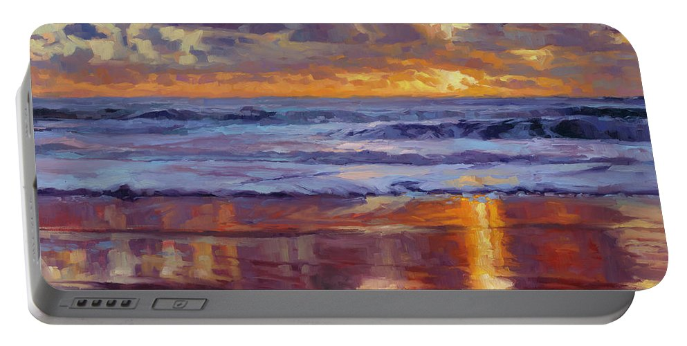 Ocean Portable Battery Charger featuring the painting On the Horizon by Steve Henderson