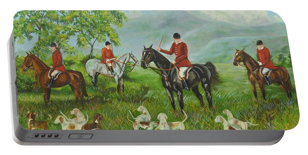 Fox Hunt Portable Battery Charger featuring the painting On The Hunt by Charlotte Blanchard