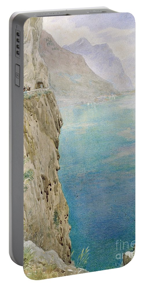 The Portable Battery Charger featuring the painting On The Italian Coast by Harry Goodwin