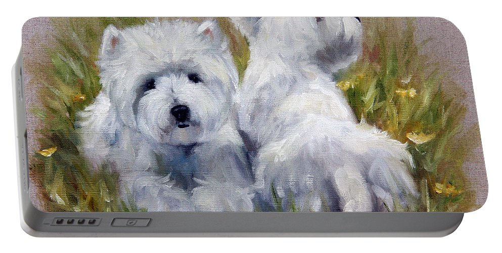 Art Portable Battery Charger featuring the painting On The Lawn by Mary Sparrow