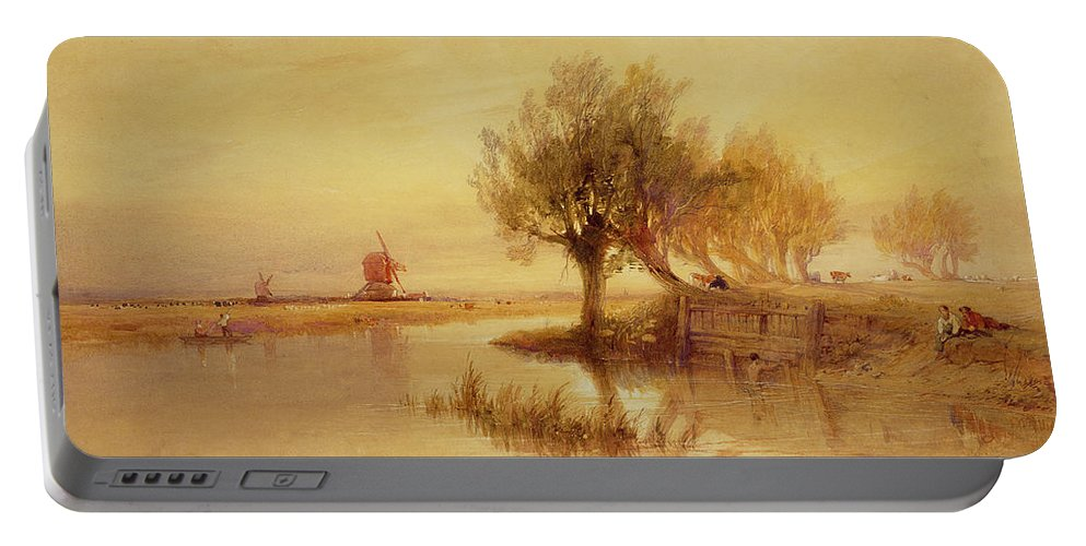 The Portable Battery Charger featuring the painting On The Norfolk Broads by Edward Duncan