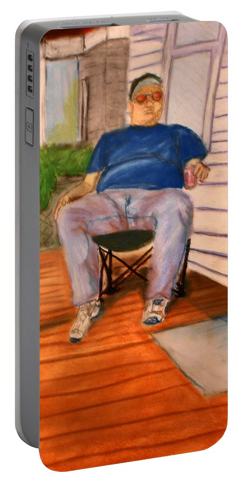 Man Portable Battery Charger featuring the pastel On The Porch With Uncle Pervy by Jean Haynes