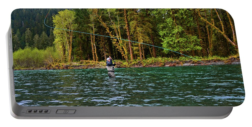 Fishing Portable Battery Charger featuring the photograph On the River by Jason Brooks