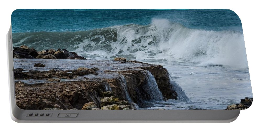 Aruba Portable Battery Charger featuring the photograph On The Rocks by Janal Koenig