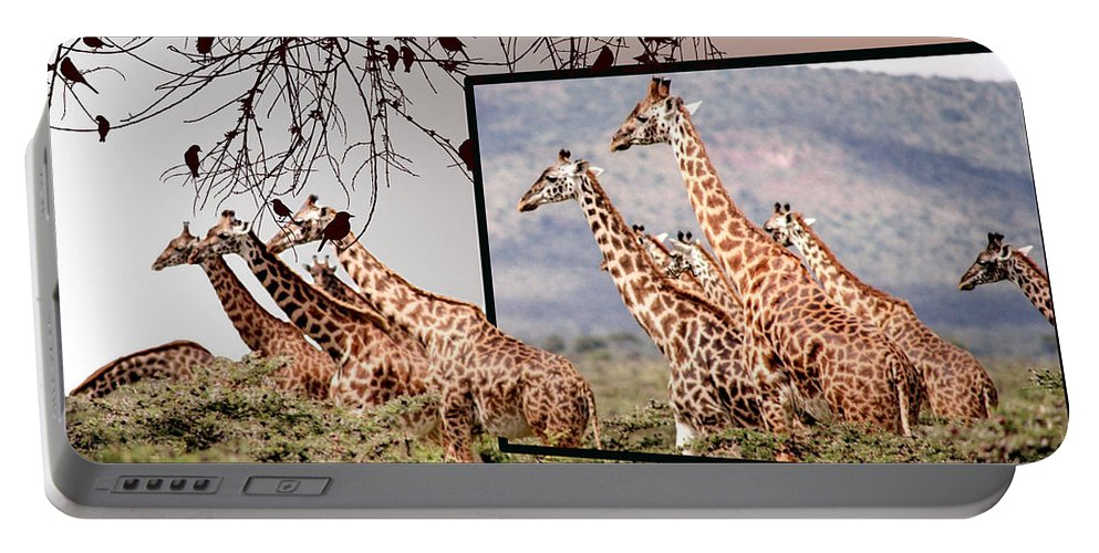 Giraffe Portable Battery Charger featuring the photograph On The Run by Ericamaxine Price