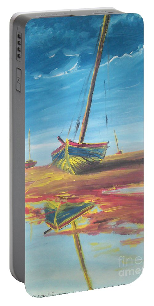 Boat Portable Battery Charger featuring the painting On The Shore by Mohamed Elhafed Beldjarou