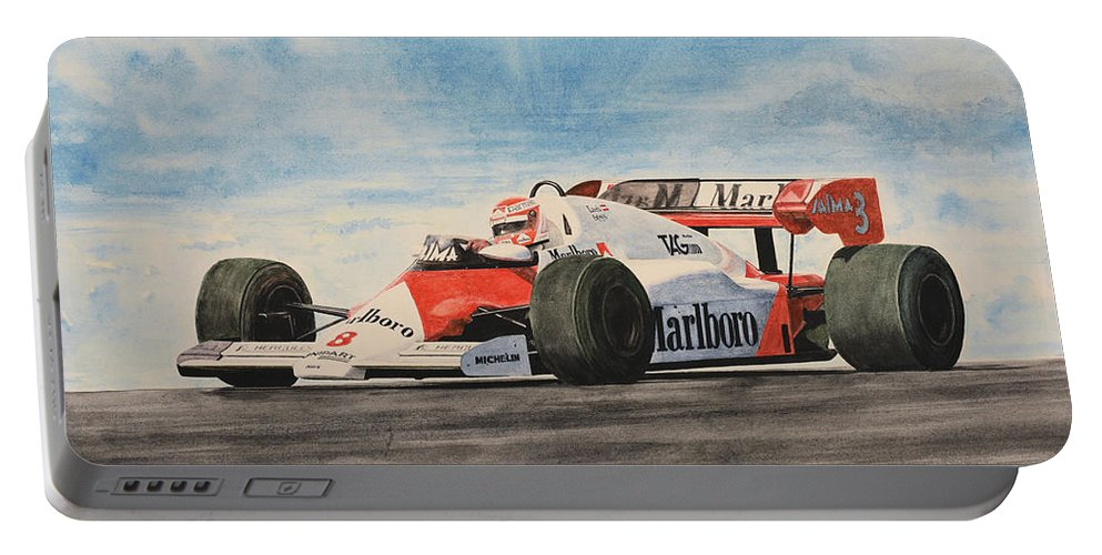 Formula One Portable Battery Charger featuring the painting On The Top by Oleg Konin