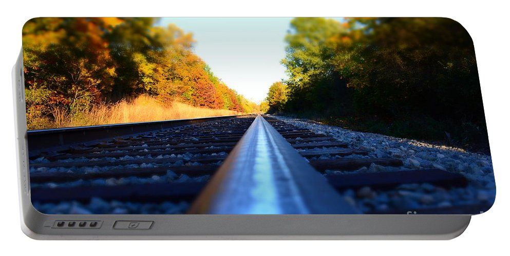 Train Track Portable Battery Charger featuring the photograph On The Track by Richard Greiner