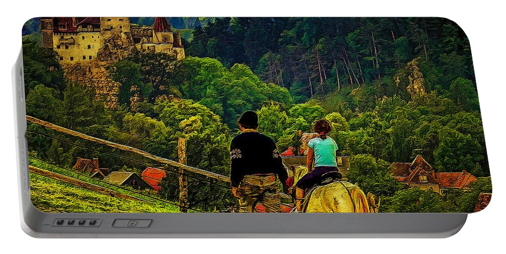 Digital Painting Portable Battery Charger featuring the digital art On The Way To Bran Castle by Dan Mintici
