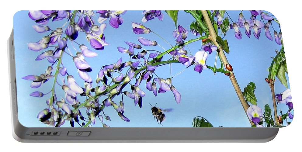 Honeybee Portable Battery Charger featuring the photograph On The Wing by Will Borden