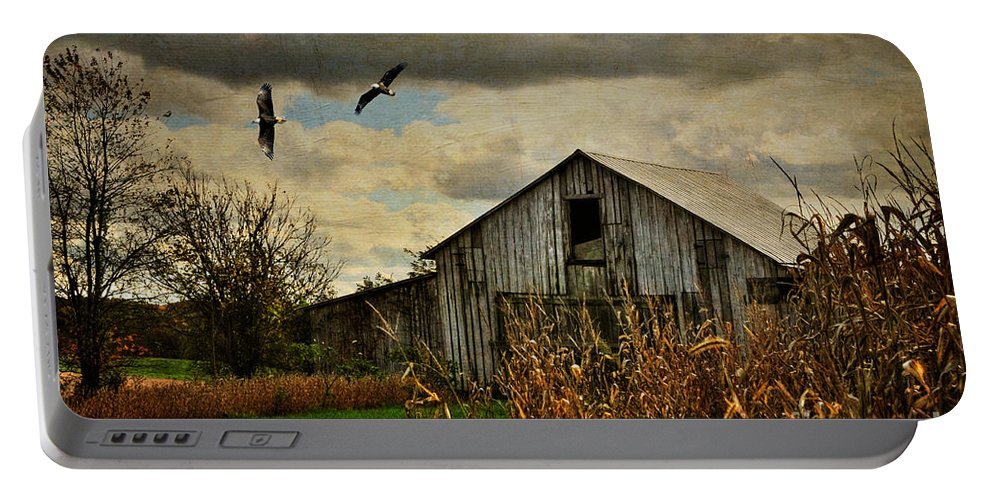 Barn Portable Battery Charger featuring the photograph On The Wings Of Change by Lois Bryan