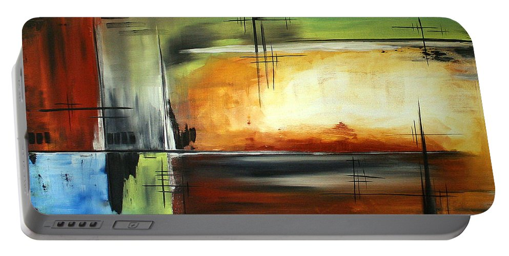 Abstract Portable Battery Charger featuring the painting On Track Original Madart Painting by Megan Duncanson