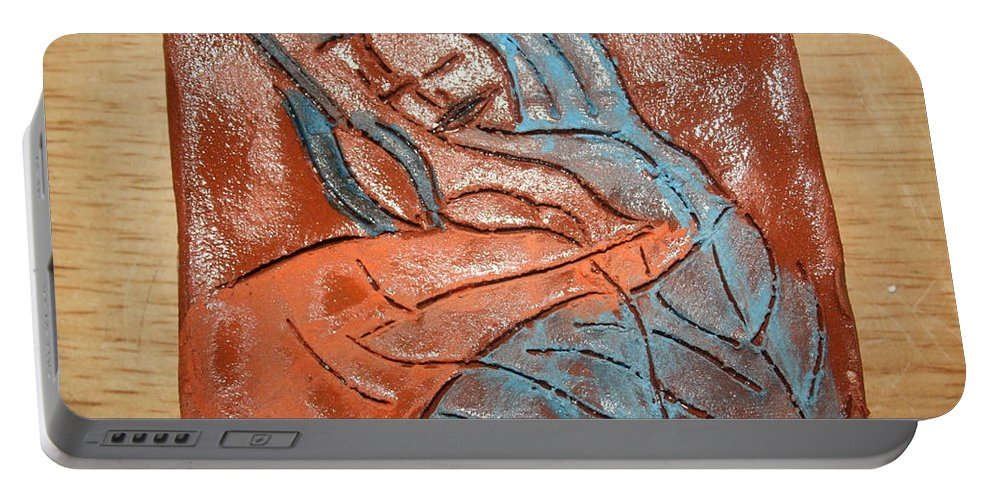 Jesus Portable Battery Charger featuring the ceramic art Ona - Tile by Gloria Ssali