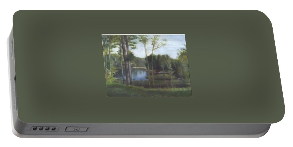 Landscape Portable Battery Charger featuring the painting Once by Sheila Mashaw