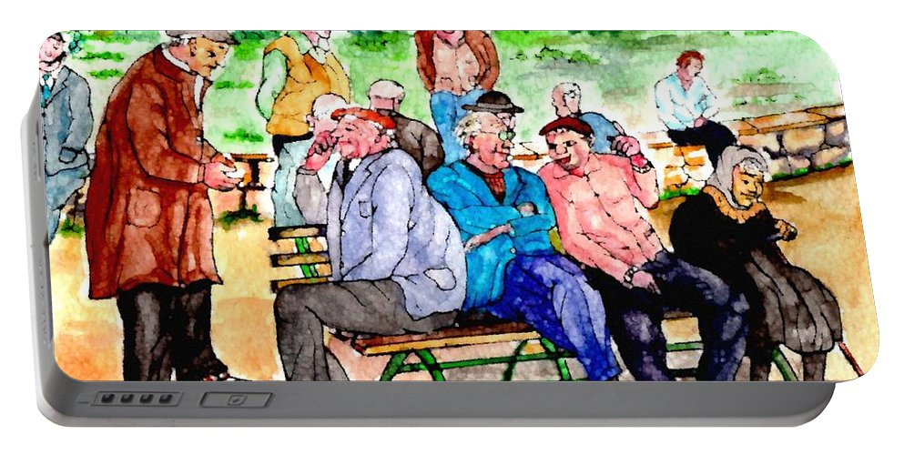 Park Bench Portable Battery Charger featuring the painting Once Upon A Park Bench by Philip Bracco