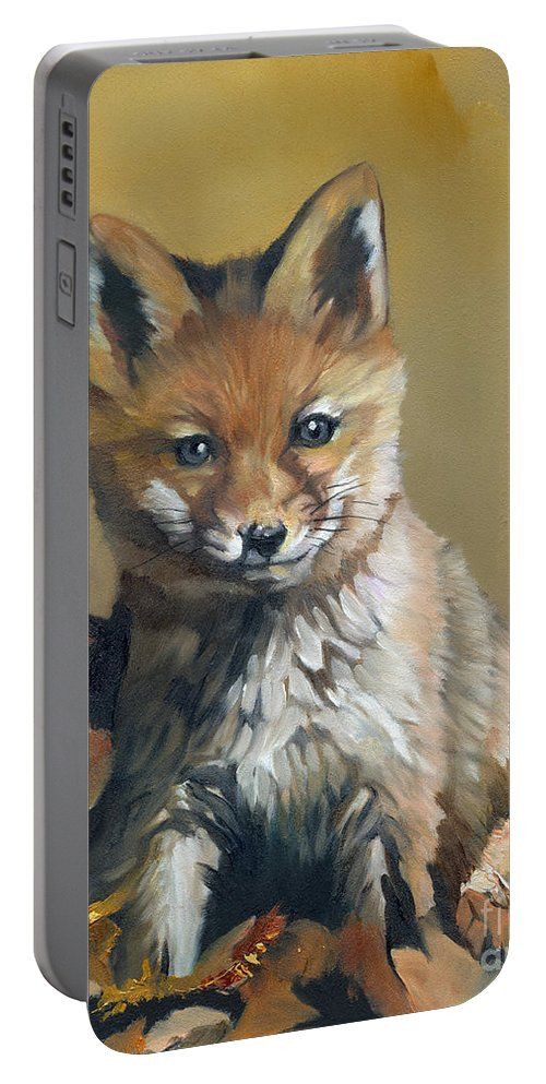 Fox Portable Battery Charger featuring the painting Once Upon A Time by J W Baker
