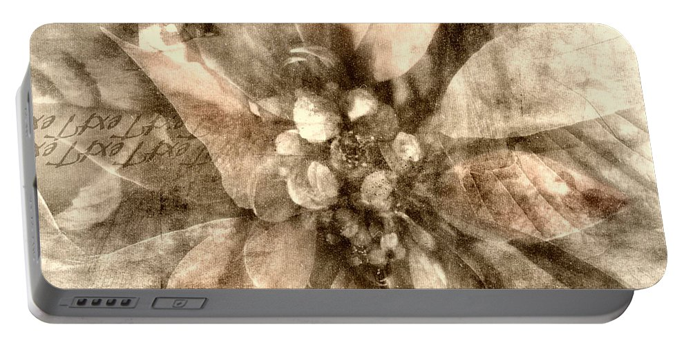Digital Art Portable Battery Charger featuring the digital art Once Upon Grandmom's Poinsettia by Melissa D Johnston