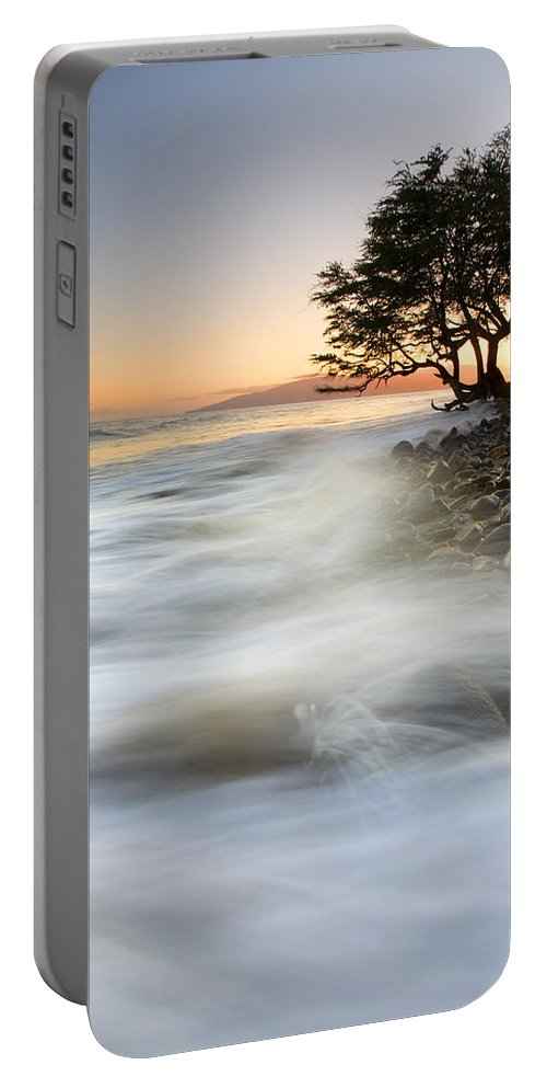 Sunset Portable Battery Charger featuring the photograph One Against The Tides by Mike Dawson
