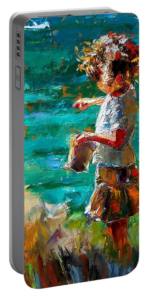 Children Portable Battery Charger featuring the painting One At A Time by Debra Hurd