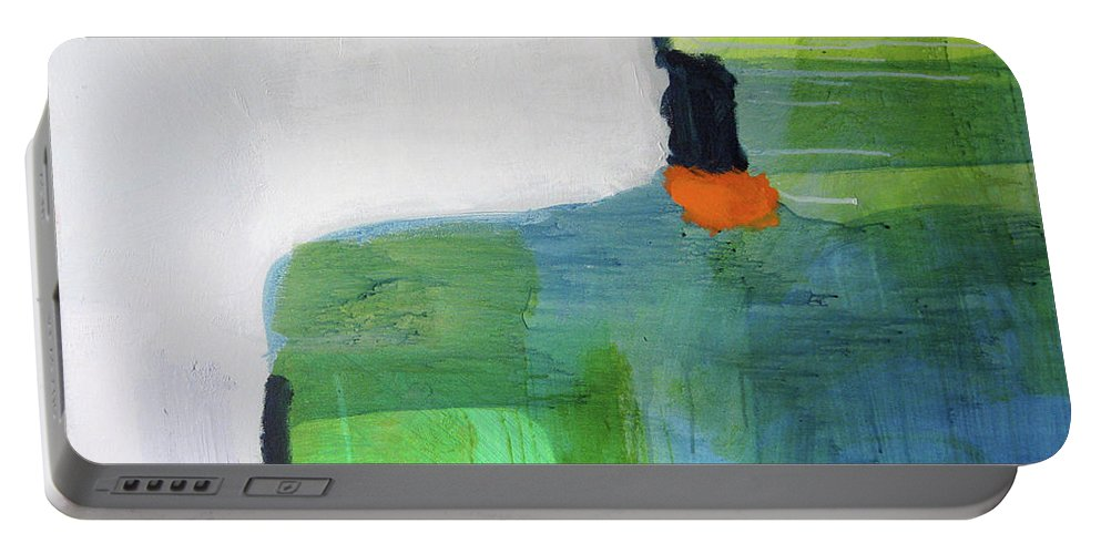 Abstract Portable Battery Charger featuring the painting One Day I Was Dreaming by Claire Desjardins