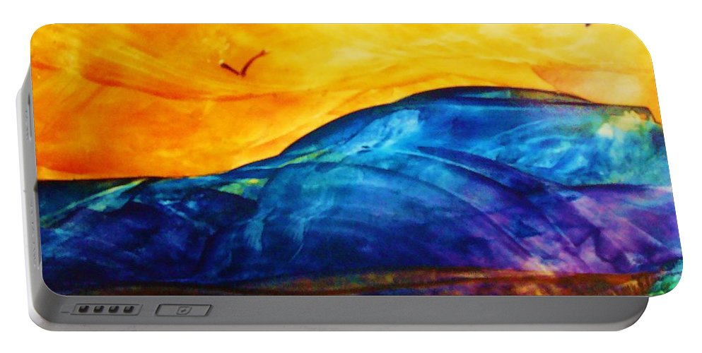 Landscape Portable Battery Charger featuring the painting One Fine Day by Melinda Etzold