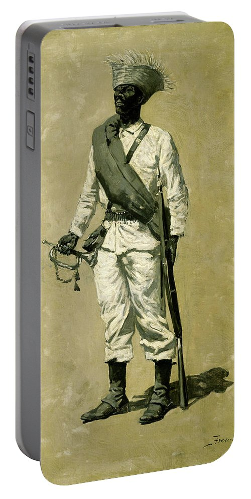Gomez Portable Battery Charger featuring the painting One Of Gomez' Men by Frederic Sackrider Remington