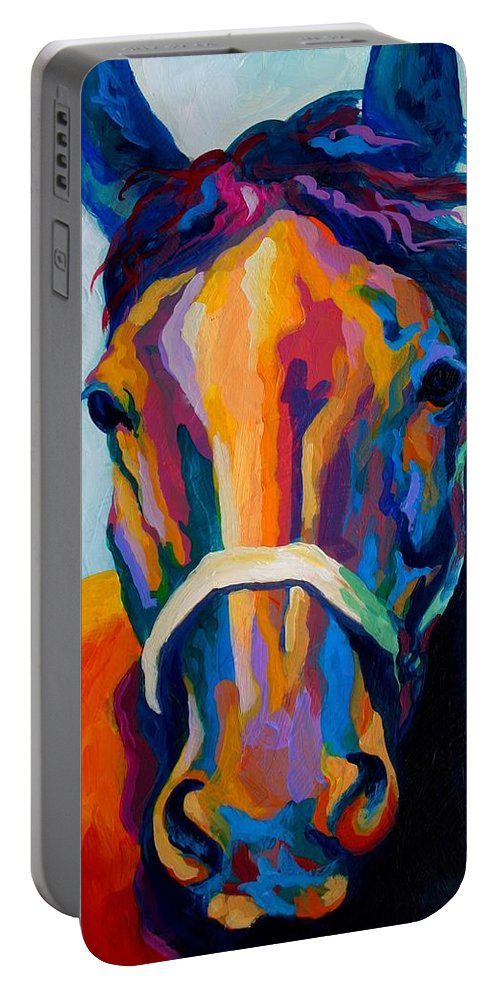 Western Portable Battery Charger featuring the painting One Of The Boys by Marion Rose