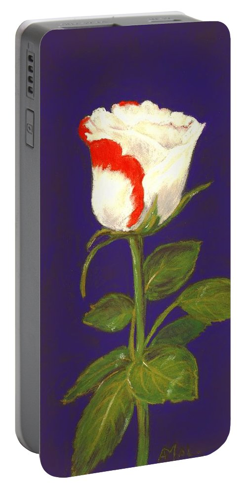 Rose Portable Battery Charger featuring the painting One Rose by Anastasiya Malakhova