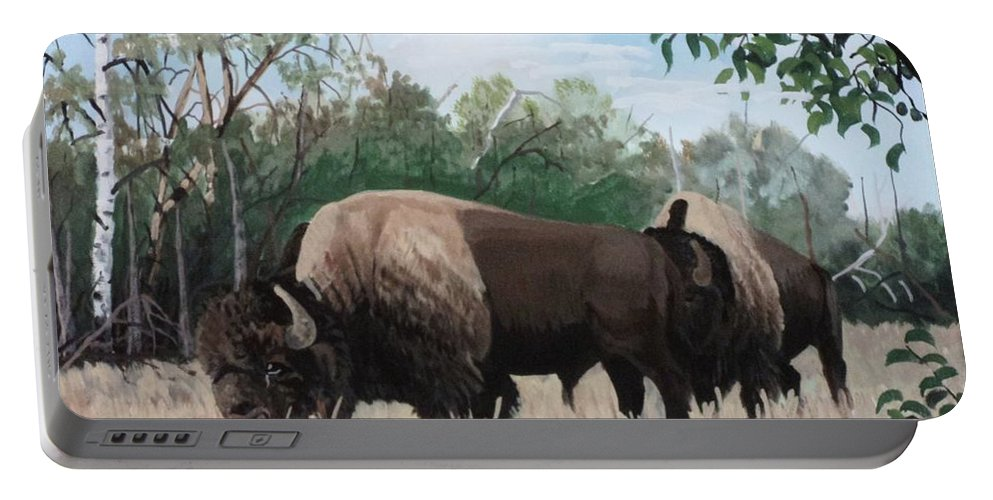 Dead Tree Portable Battery Charger featuring the painting One Summer Day by Anthony Bear