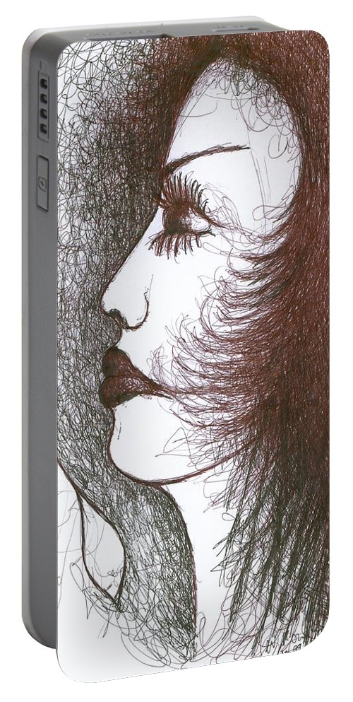 Naive Portable Battery Charger featuring the drawing One Tear by Wojtek Kowalski
